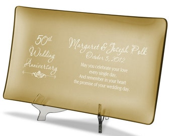 50th Wedding Anniversary Gold Tray