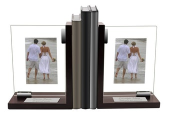 Personalized Glass Bookend Set with Photo Frames