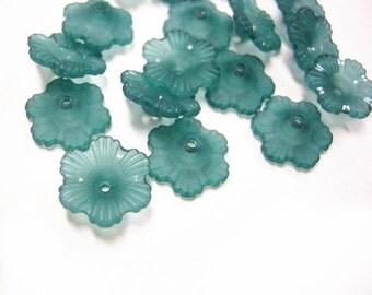 24pc teal acrylic flower bead-1011A