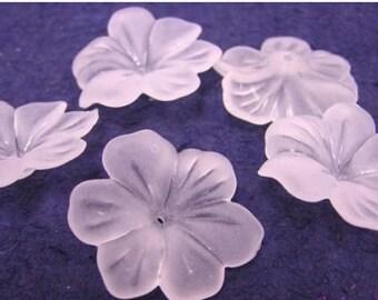 10pc large acrylic flower shape bead-WHITE-3844