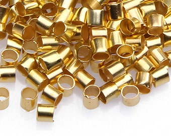 200pc Gold Crimp Tube Style Stopper Metal Bead 2mm-9240