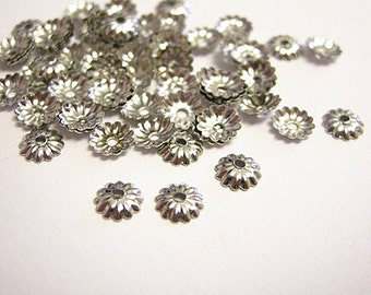 100pc 5mm nickel look metal bead cap-9321