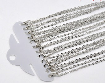 12pc 18 inch antique silver  finish flat link ready to wear necklaces-3710