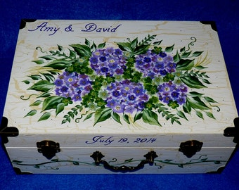 Hand Painted Box Decorative Wood Wedding Keepsake Card Box Suitcase Trunk Shabby Chic Memory Bridal Shower Gift Hydrangea White Distressed