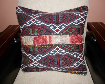 20x20 inch Hand woven Turkish Anatolian unique Kilim pillow cover, throw pillow cover, cushion cover.