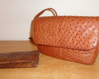 Vintage Genuine Full Quill Exotic Ostrich Leather NAKARA Tan Shoulder Bag & Dark Brown Wallet