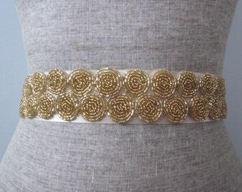 Circle Motif Art Deco Beaded Wedding Sash / Belt, Round Medallion Sash
