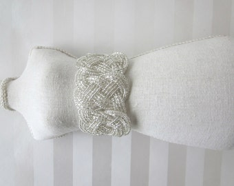 Nautical Clear Beaded Ribbon Tied Cuff Bracelet, Nautical Knot Wedding Corsage