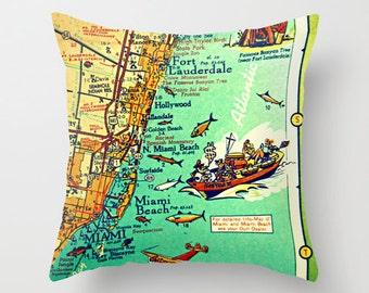 Miami  Pillow Cover,, Vintage Miami Map, Miami Throw Pillow, Unique Miami Gift, Illustrated Map