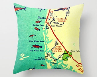 Throw Pillow Covers, Florida Map Pillow, Marco Island,  Decorative Pillow, Naples Beach House Pillow, Decorative Throw Pillow, Hostess Gift