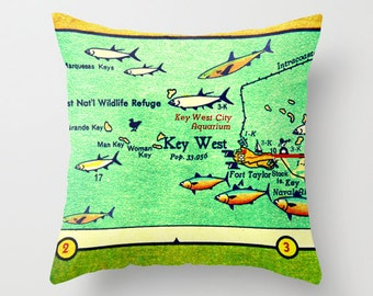 Key West Pillow Cover, Florida Keys Gift, Key West Gifts, Wife Christmas Gift