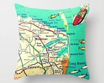 Jersey Shore Map Pillow, New Jersey, Map Pillow, NJ Jersey Girl Gift, Long Branch, Sandy Hook, Beach House Pillow, Decorative Pillow Cover