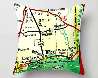 MISSISSIPPI Map Pillow Cover Mississippi Gift, Throw Pillow for couch, Gulf Coast Beaches Biloxi Gulfport Ocean Springs MS Map  EtsyGiving
