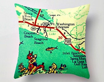30A Map Pillow Cover, Travel Gift for Women, Beach Gift, Realtor Gift, AirBnB Decor, Seaside, Seagrove Alys Beach Florida Love, Panhandle FL
