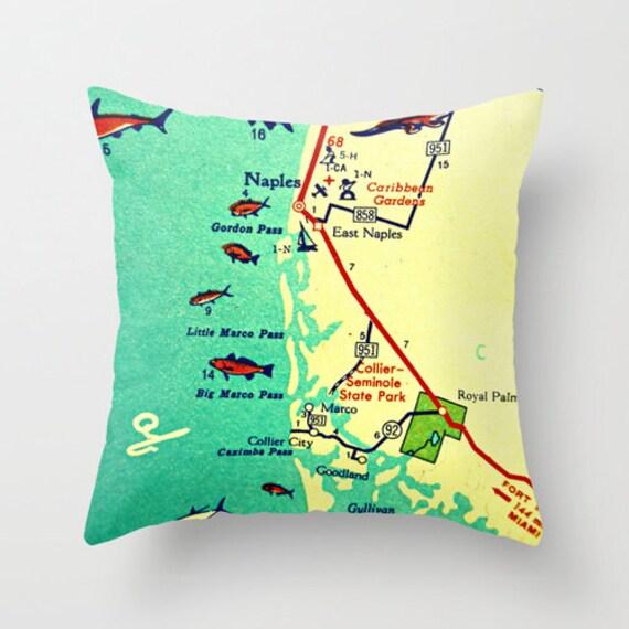 Throw Pillow Covers Florida Map Pillow Marco Island