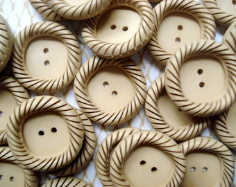 Beige Square Round Buttons - 20 Vintage Tan Crimped Buttons - French Beige Swirl Buttons - Paris Buttons - Square Round Tan Buttons