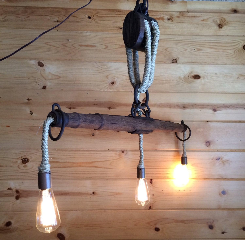 Rustic Light Industrial Chandelier Rope Pulley Yoke Wood Metal