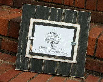 Picture Frame - Holds a 5x7 Photo - Distressed Wood - Double Mats - Black & White