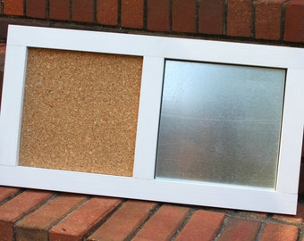 Memo Board - Wood Frame - Corkboard and Silver Metal - Magnetic - Dry Erase - White Frame
