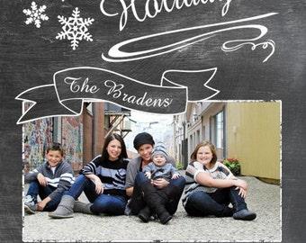 Chalkboard Look Customized Holiday Greeting Card Vertical - Printable Digital File