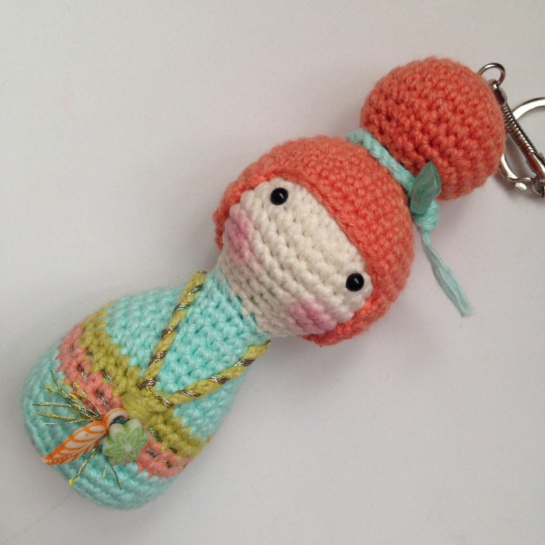 Amigurumi Yarn Pack : Amigurumi Crochet Kokeshi Doll Bag Charm Crochet Geisha Doll