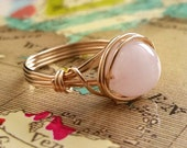 Rose Quartz Ring, 14kt Gold-Filled Wire Wrapped Ring, Wire Ring, Wire Wrapped Jewelry Handmade