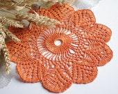 SALE 15% OFF: Orange doily crochet Lace doily Table decor Crochet centerpiece crochet doilies Linen crochet doilies