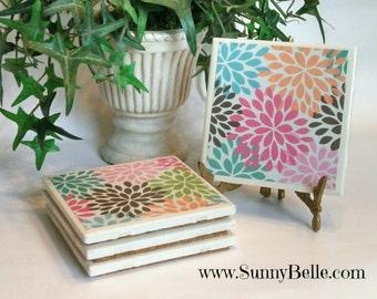 Ceramic Coaster Sets - Blossoms; floral