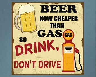 Vintage Printed Wall Sign Beer is Cheaper Than Gas Repositionable Removable Print Fabric, drink and drive bar wall art vintage tin sign