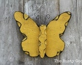 Spring Decor, Butterfly Decor, Yellow Butterfly, Garden Decor, Nursery Decor, Rustic Decor, Rustic Spring, Primitive Spring, Farmhouse Decor