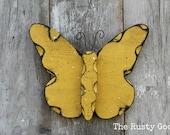 Spring Decor, Butterfly Decor, Yellow Butterfly, Garden Decor, Nursery Decor, Rustic Decor, Rustic Spring, Primitive Spring, Farmhouse Decor