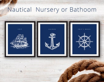 Navy Nautical Bathroom DIY Printable's, 8x10""