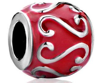 Red Enamel Spacer Bead   For European Style Charm Bracelet