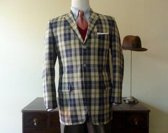"RARE Vintage 1960s Palm Beach ""Zephyr Weight"" Blue & Cream Plaid Summer Sack Jacket 41 LG. Made in USA."