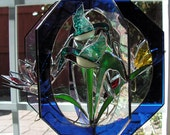 Hummingbirds in Stained Glass Whirl, Suncatcher