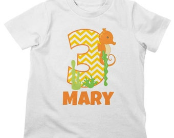 Seahorse Birthday Shirt or Bodysuit - Personalized Birthday Shirt with child's age