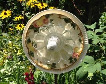 Whimsical glass garden flowers everlasting garden art for Garden art from old dishes