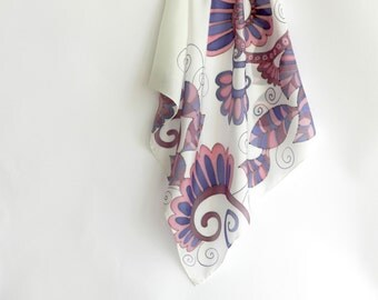 Violet  silk scarf . Hand painted silk scarf with violet flower pattern . Gift for her. Made to order.