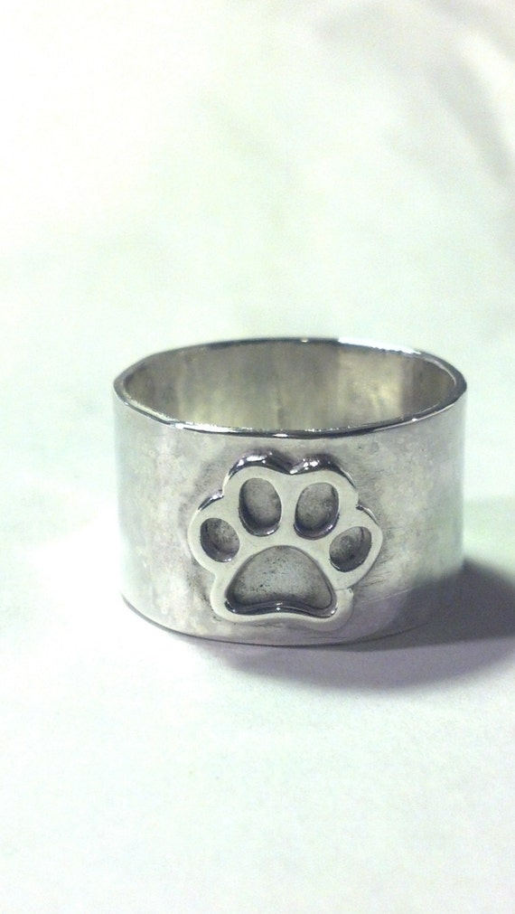 Silver Paw Cavachons: Sterling Silver Paw Print Ring Cat Dog Charm Solid