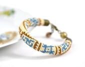 Ancient Russia Ethnic Bracelet - Classic Bead Crochet Bracelet Ethnic Minimalist Bracelet  Blue White Bronze Beadwork Jewelry Multi-Colored