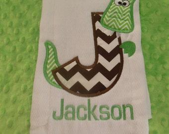 Alligator Initial Chevron Burp Cloth