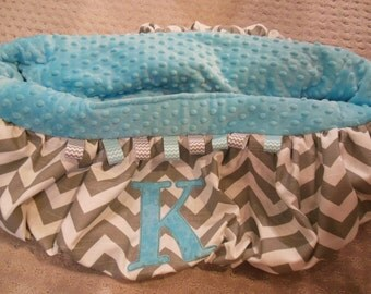 Gray Chevron and Turquoise Initial Shopping Cart Cover
