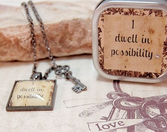 Positive Saying Pendant Necklace in Gift Tin I dwell in possibility for moms friends teens