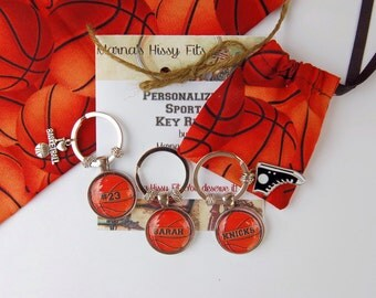 Basketball Key Ring Personalized Sports Key Chain with Charm in Matching Fabric Gift Bag for Boyfriend Jersey Number Sons Daughters Teams