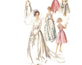 Vintage 1960s Sewing Pattern - Wedding Dress with Detachable Train, Bridesmaids Dress or Evening Gown - 1963 Simplicity 5343, Bust 30.5