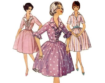 Vintage 1950s Sewing Pattern - Full Skirt Dress with Ruffled Bodice, Short Sleeves, Notched Collar - Simplicity 4291, Bust 32