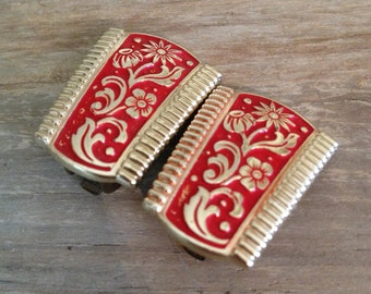 Red and Gold Earrings Estate Jewelry Vintage Earrings