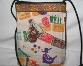 Fiesta Print Dancer, skulls, Mariachis  Sling, Cross body purse w/ Side Zipper, Hipster purse, Shoulder Bag