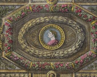 Rare Antique Parisian Print 1751 Roccoco Architecture-Copper Engraving-Hand Colored-Gorgeous Ornate Ceiling