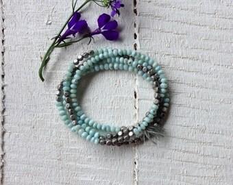 AAA Larimar Beaded Bracelet with Silver Plated Cube Beads Larimar Wrap Bracelet Blue Boho Bracelet